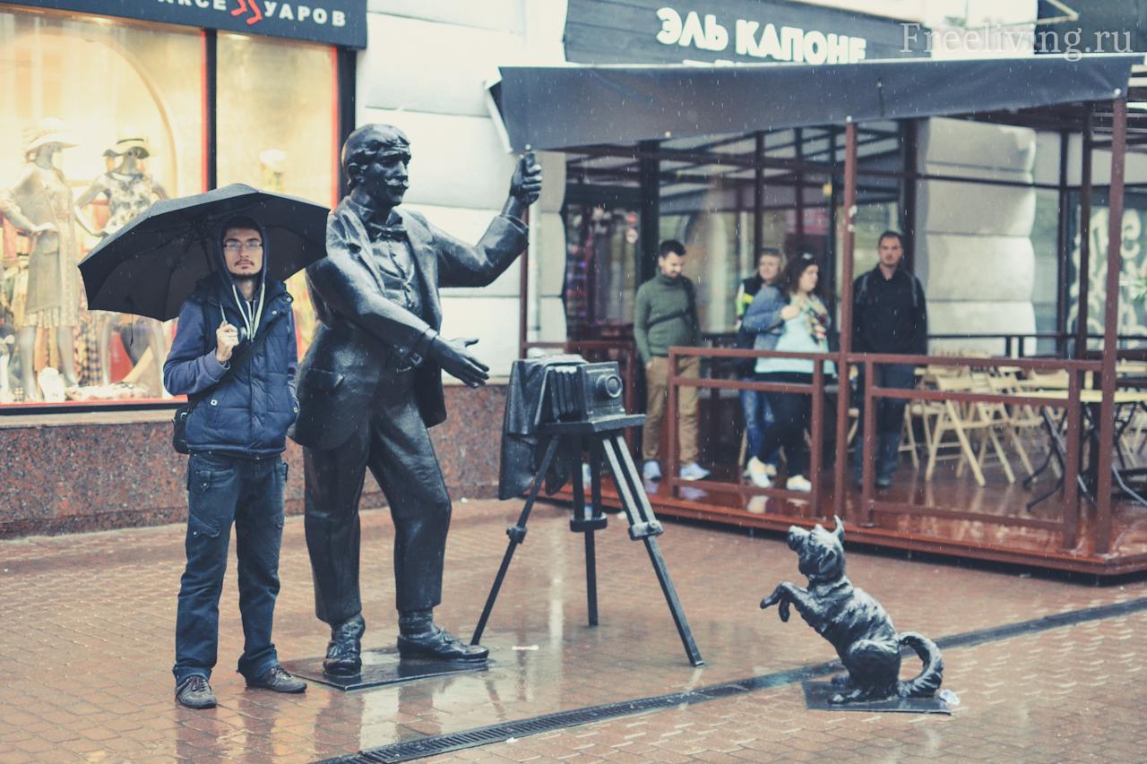 Скульптура Фотограф с собакой , Большая Покровская улица, Нижний Новгород